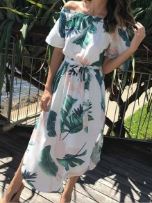 Green Floral Sashes Print Irregular Boat Neck Fashion Midi Dress