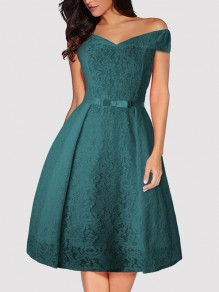 Green Patchwork Lace Bow Zipper Off Shoulder Midi Dress