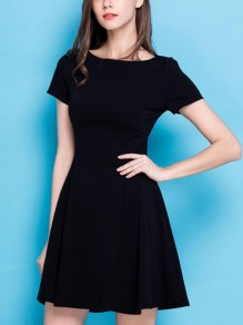 Black Pleated Comfy High Waisted Going out Mini Dress