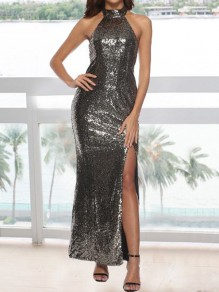 7ee4dd1cb00 Golden Sequin Side Slit Halter Neck Backless Mermaid Prom Cocktail Party  Maxi Dress