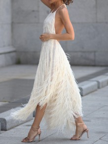 White Tassel Fuzzy Flowy Backless Irregular Halter Neck Elegant Party Maxi Dress
