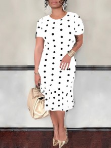 White Polka Dot Ruffle Bodycon Short Sleeve Elegant Party Midi Dress