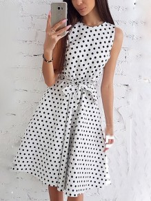 White Polka Dot Print Sashes Round Neck Fashion Midi Dress