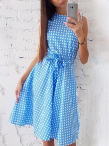 Light Blue Polka Dot Print Sashes Round Neck Fashion Midi Dress