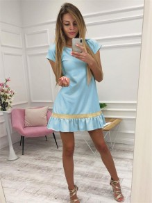 Light Blue Patchwork Ruffle Sequin Round Neck Fashion Mini Dress