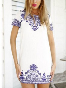 White Blue Porcelain Print Cut Out Round Neck Sweet Homecoming Party Mini Dress