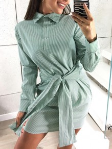 Green Striped Sashes Buttons Casual Mini Dress