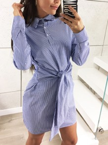 Blue Striped Sashes Buttons Casual Mini Dress