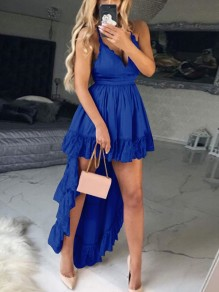 Blue Ruffle Irregular Spaghetti Strap Deep V-neck High-Low Homecoming Party Elegant Mini Dress