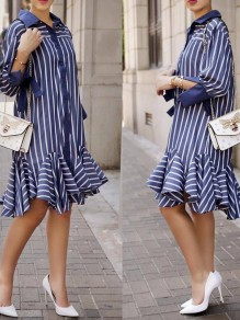 Blue Striped Print Single Breasted Ruffle Turndown Collar Shirt Workwear Midi Dress