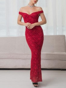 Red Patchwork Lace Sequin Off Shoulder Mermaid Elegant Prom Banquet Maxi Dress