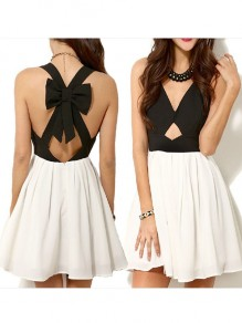 White Cut Out Bow Pleated Backless V-neck Sleeveless Mini Dress
