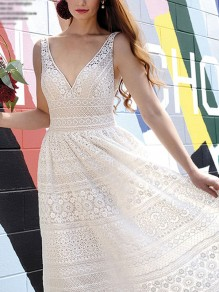 6199926973 White Patchwork Lace Pockets V-neck Backless Wedding Gowns Elegant Flowy Maxi  Dress