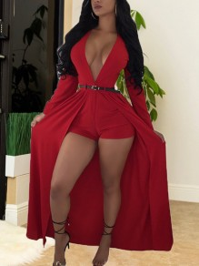 Red Deep V-neck High Waisted Flowy Beachwear Party Romper With Train