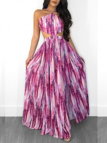 Red Halter Neck Cut Out Omombre High Waisted Draped Bohemian Party Maxi Dress