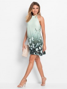Green Floral Print Round Neck Fashion Mini Dress