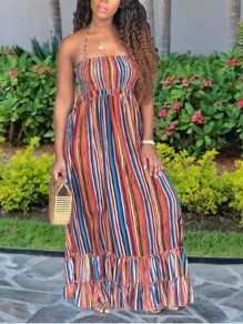Multicolor Rainbow Striped Halter Neck Backless Cascading Ruffle Casual Beachwear Maxi Dress