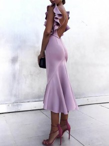 Purple Ruffle Cross Back Backless Backless V-neck Fashion Maxi Dress