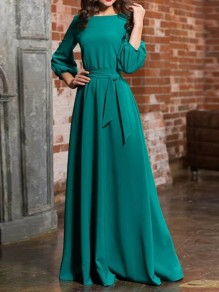 Green Sashes Draped Long Sleeve Round Neck Elegant Maxi Dress