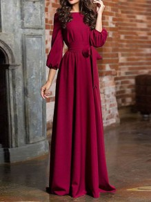 Burgundy Sashes Draped Long Sleeve Round Neck Elegant Maxi Dress