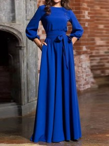 Blue Sashes Draped Long Sleeve Round Neck Elegant Maxi Dress