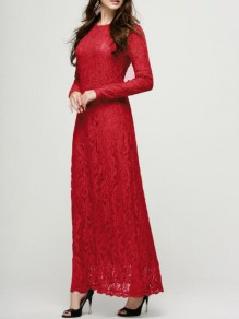 Red Patchwork Lace Floral Draped Round Neck Long Sleeve Elegant Prom Maxi Dress