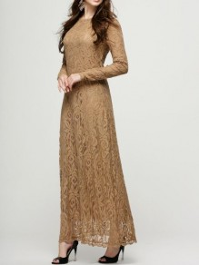 Camel Patchwork Lace Floral Draped Round Neck Long Sleeve Elegant Prom Maxi Dress