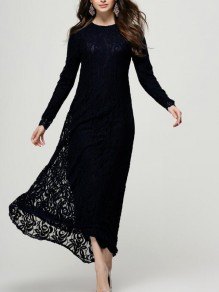 Black Patchwork Lace Floral Draped Round Neck Long Sleeve Elegant Prom Maxi Dress