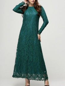 Green Patchwork Lace Floral Draped Round Neck Long Sleeve Elegant Prom Maxi Dress