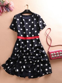 Blue Polka Dot Print Round Neck Short Sleeve Casual Midi Dress