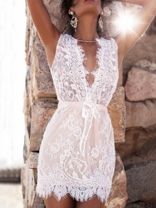 White Patchwork Lace Drawstring Deep V-neck Sleeveless Mini Dress