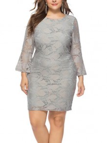 Grey Floral Lace Flare Sleeve Plus Size Bodycon Wedding Homecoming Party Mini Dress