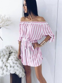 White And Pink Striped Ruffle Belt Boat Neck Fashion Mini Dress
