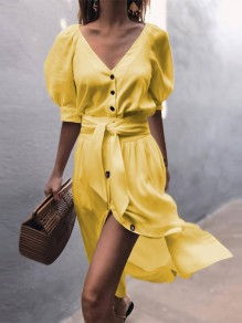 Yellow Single Breasted V-neck Sashes Slit Flowy Balloon Sleeve Country Party Midi Dress