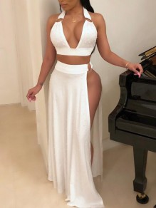 White Patchwork Pearl High Slit Two Piece High Waisted Deep V-neck Elegant Prom Maxi Dress