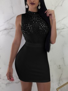 Black Patchwork Grenadine Rhinestone Sequin Bodycon Homecoming Party Clubwear Mini Dress