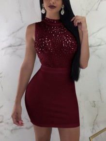 Jujube Red Patchwork Grenadine Rhinestone Sequin Bodycon Homecoming Party Clubwear Mini Dress