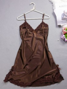 Coffee Patchwork Lace Bow V-neck Sweet Casual Mini Dress
