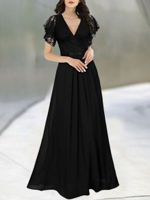 Black Patchwork Lace Bow Draped V-neck Short Sleeve Maxi Dress