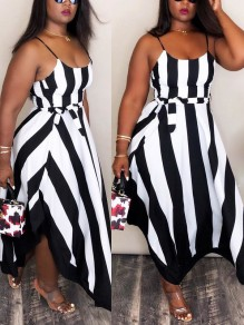 Black Striped Spaghetti Strap Sashes Irregular Draped Flowy Elegant Homecoming Party Maxi Dress