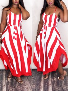 Red Striped Spaghetti Strap Sashes Irregular Draped Flowy Elegant Homecoming Party Maxi Dress