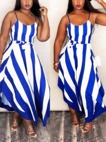 Sapphire Blue Striped Spaghetti Strap Sashes Irregular Flowy Elegant Homecoming Party Maxi Dress