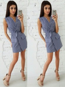 Dark Blue Striped Sashes V-neck Fashion Dress