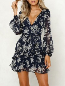 Navy Blue Floral Print Ruffle Sashes V-neck Long Sleeve Fashion Mini Dress