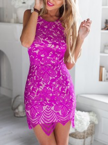 Purple Lace Patchwork Round Neck Sleeveless Mini Dress