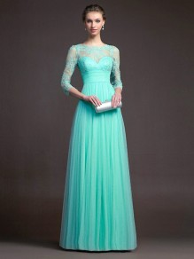 Green Lace Patchwork Collarless Round Neck Fashion Maxi Dress