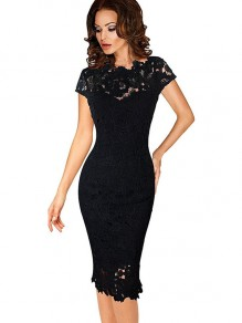 Black Lace Patchwork Round Neck Short Sleeve Midi Dress