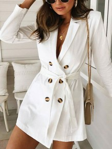 White Double-Breasted Belt Deep V-neck Elegant Casual Formal Blazer Mini Dress