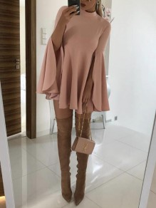 Pink Draped Double Slit Flare Sleeve High Waisted Cloak Elegant Homecoming Mini Dress