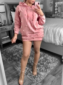 Pink Patchwork Beading Drawstring Long Sleeve Oversized Casual Hooded Mini Dress